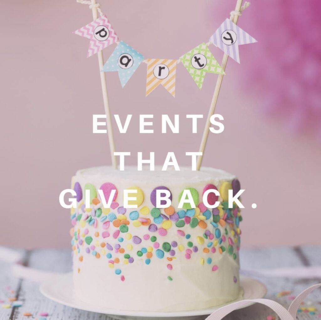 Image of Birthday Party or Celebration Cake.  Events that Give Back to Charity is